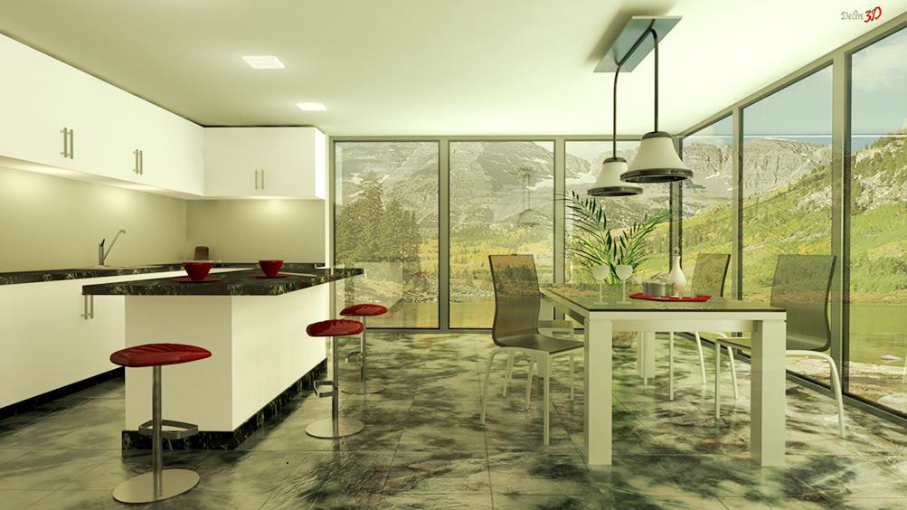 Cocina 3D. Diseño de cocina Cercedilla - Delin3D ...