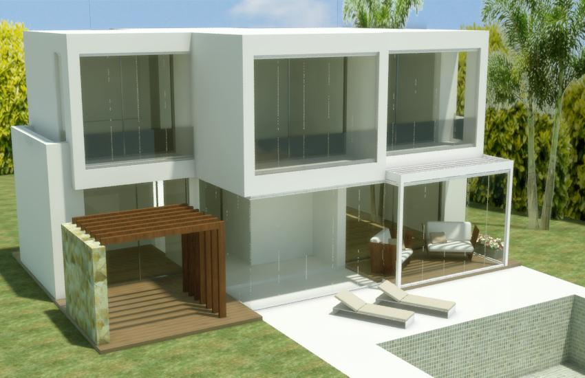 diseño 3d vivienda unifamiliar con cerramiento de cristal
