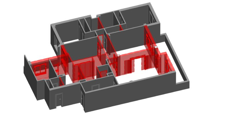 Modelado revit vista de estado actual con demoliciones en 3d