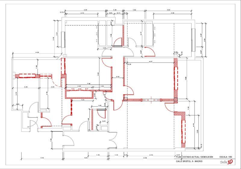 Planos de planta de reforma vivienda madrid estado actual con demolicion