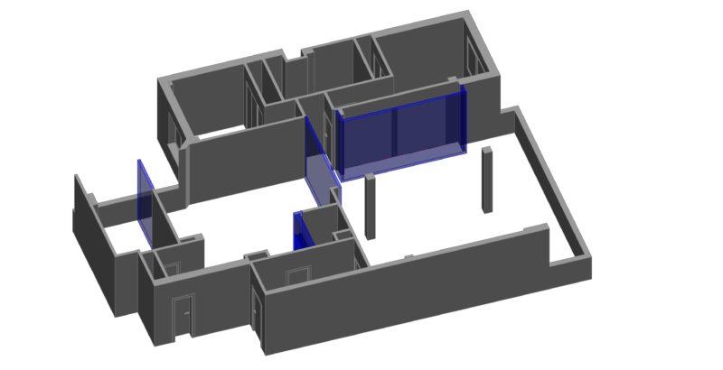 Modelado revit vista de estado reformado en 3d