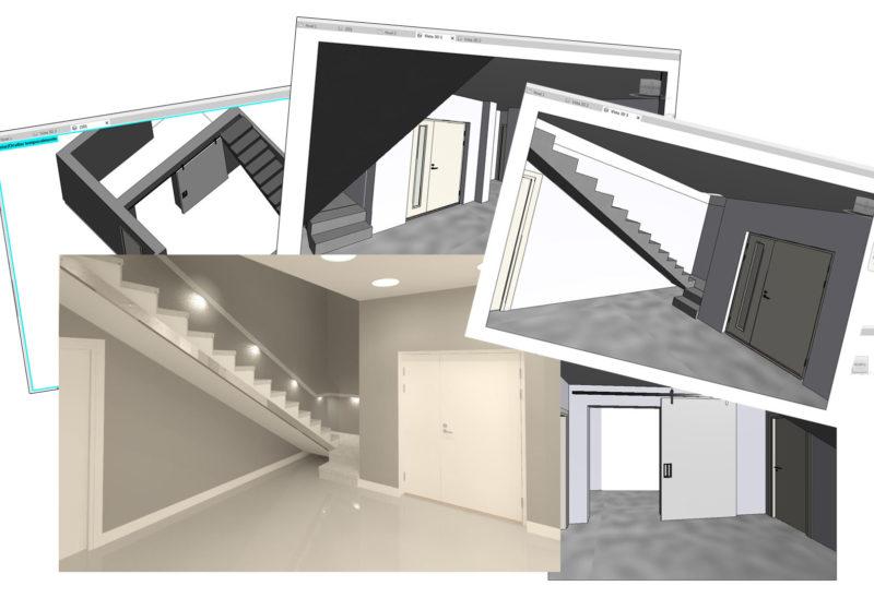 Infografias y previos 3D reforma vivienda zona de vestíbulo