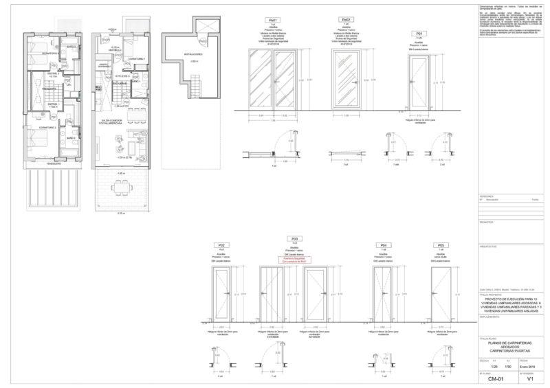 Planos memoria de carpintería de puertas