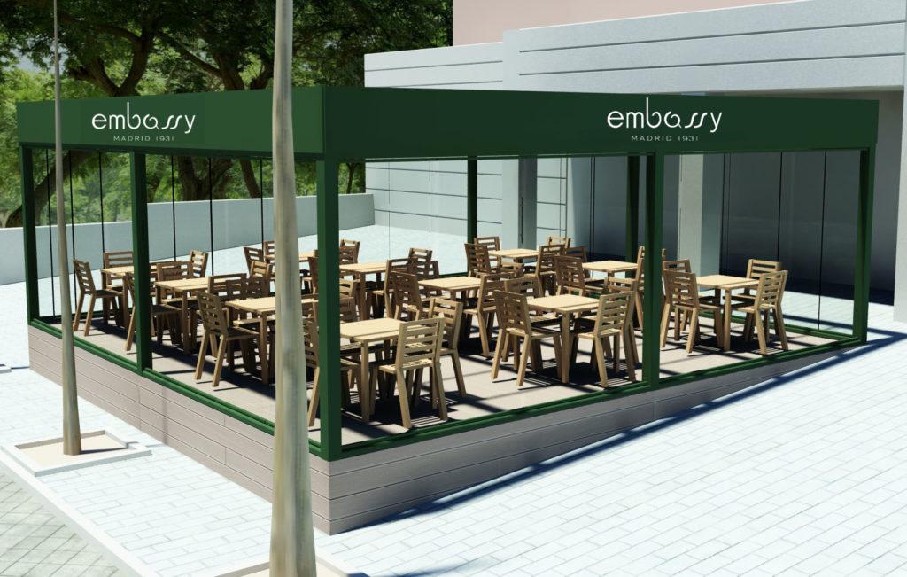 Opcion1: Diseño 3D de vista Frontal Terraza Embassy