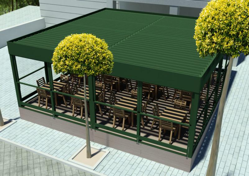 Opcion2: Diseño 3D de vista superior Terraza Embassy