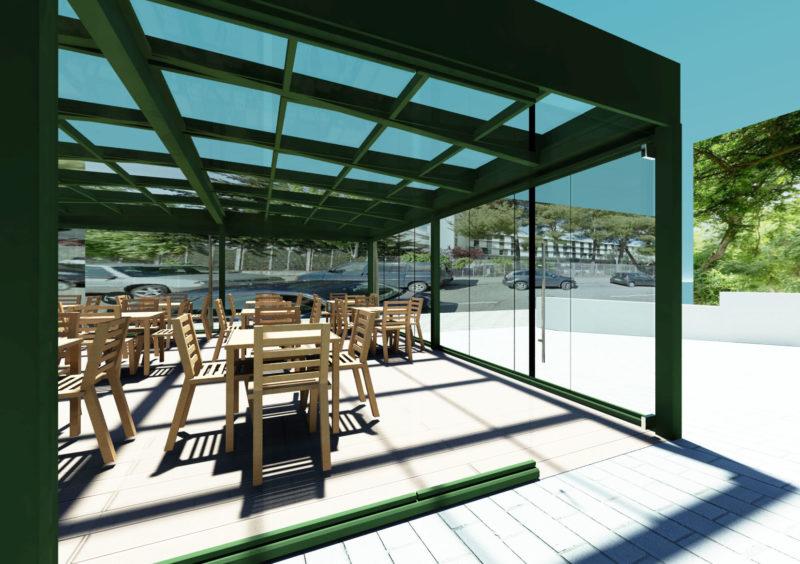 Opcion1: Diseño 3D de vista Lateral Terraza Embassy