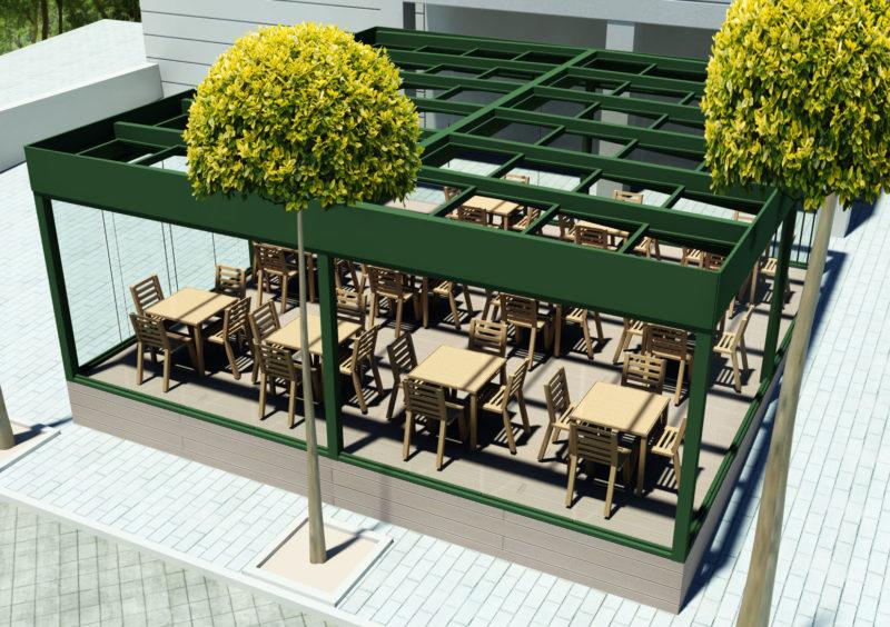 Opcion1: Diseño 3D de vista superiorTerraza Embassy