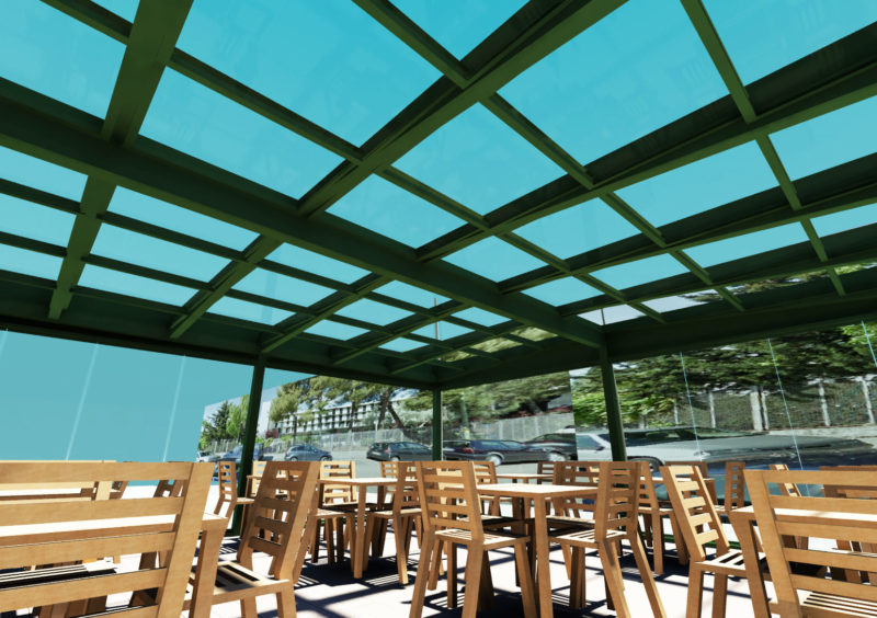 Opcion1: Diseño 3D de vista Interior Terraza Embassy