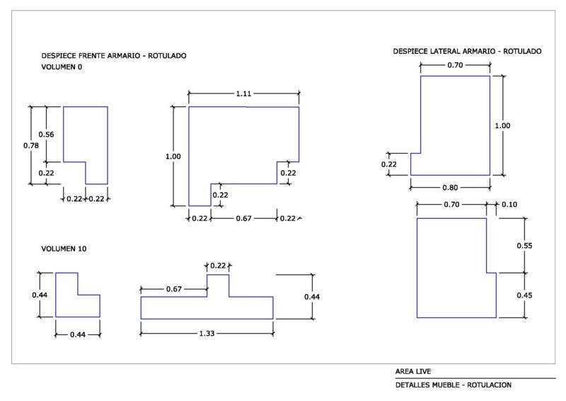 plano de despiece rotulacion mueble para stand live