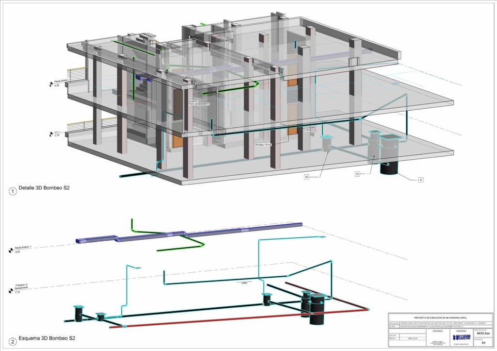 Esquema 3d realizado con revit de sistema de bombeo saneamiento sótano edificio