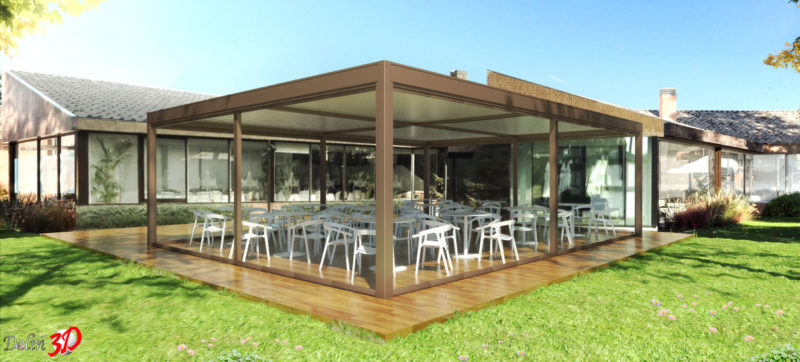 infografia-3d-diseño-cerramiento-terraza-club-golf-pergola-bioclimatica-cortina-cristal