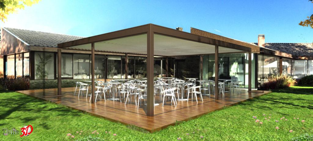 infografia-3d-diseño-cerramiento-terraza-club-golf-pergola-cortina-cristal
