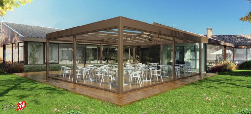 infografia-3d-diseño-cerramiento-terraza-club-golf-techo-movil-cortina-cristal
