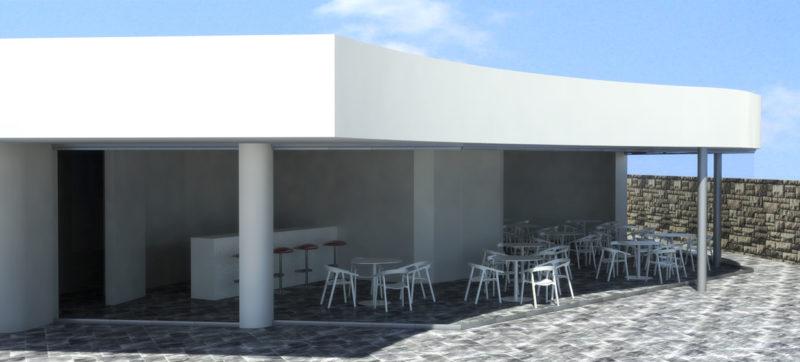 infografia-3d-diseño-cerramiento-terraza-club-padel-cortina-cristal-entrada