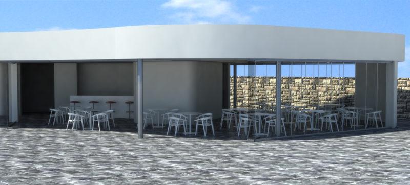 infografia-3d-diseño-cerramiento-terraza-club-padel-cortina-cristal-lateral-abierto