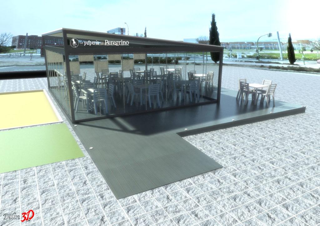 Infografia 3D cerramiento terraza con cortinas de cristal y techo fijo vista delantera