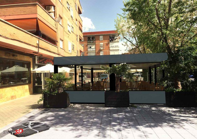 Cerramiento 3D terraza bar pergola y cortavientos