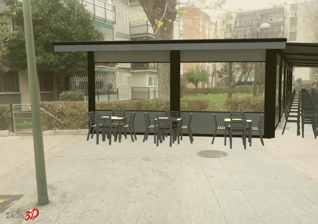 Diseño 3D cerramiento terraza con porteria toldos extensibles y cortavientos