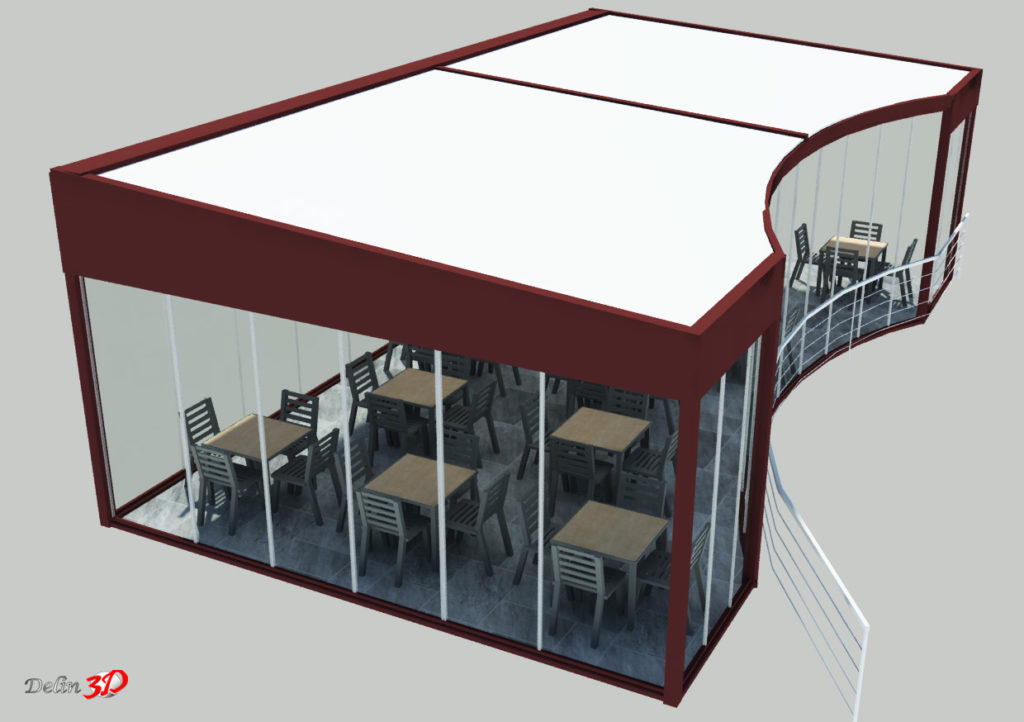 Cerramiento 3D para terraza de restaurante vista superior