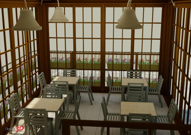 Diseño 3D de cerramiento para cafeteria vista interior cerrado