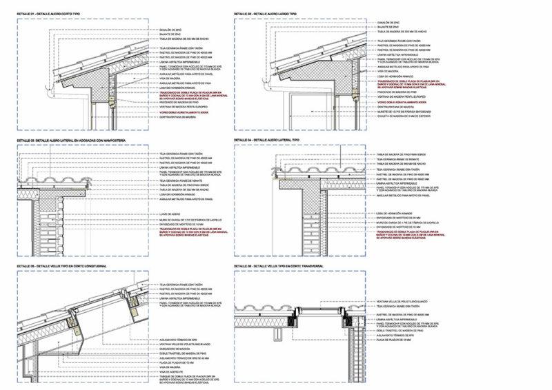 plano de detalles constructivo cubiertas realizados en autocad